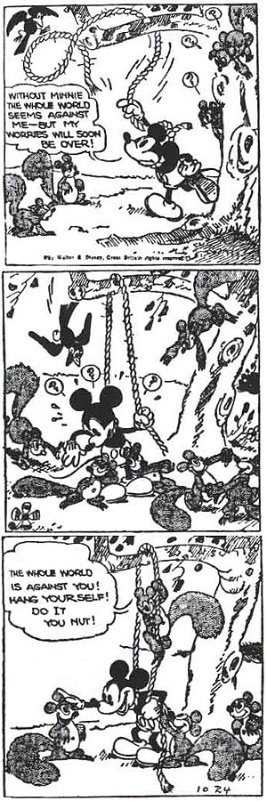 A comic strip with Mickey Mouse being encouraged  by a group of squirrels to hang himself.